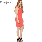 Sleeveless Dress Summer Party Dresses Women Plus Size Clothing 2017 Sexy Slim Bodycon Dress Big Size V Neck Red Vestidos 4x 5xl | calizota