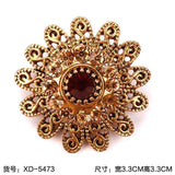 Vintage Gold Plated Crystal Rhinestone Flower Antique Brooch Pins | calizota