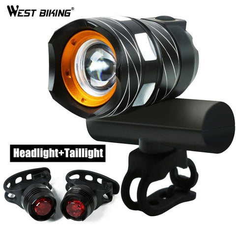 West Biking Bicycle Waterproof T6 Handlebar Light USB Rechargable Adjustable Focus 1200 LM Bright Warning Taillamp Cycling Light | calizota