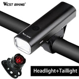 West Biking Professional Bike Light Waterproof 200 Lumens USB Rechargeable Bright Headlamp With Warnning Taillight Cycling Light | calizota