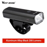 West Biking Professional Bike Light Waterproof 200 Lumens USB Rechargeable Bright Headlamp With Warnning Taillight Cycling Light