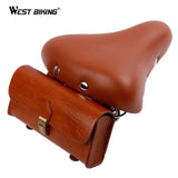 West Biking Retro Bicycle Tail Bag PU Leather Cycling Bag Saddle Pouch Tail Pannier Personalized Riding Vintage Bicycle Bike Bag | calizota