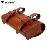 West Biking Vintage Bicycle Saddle + Bag Set PU Leather Mountain Bike Seat Pack Storage Pouch Tail Bag Retro Bicycle Saddle Bag | calizota