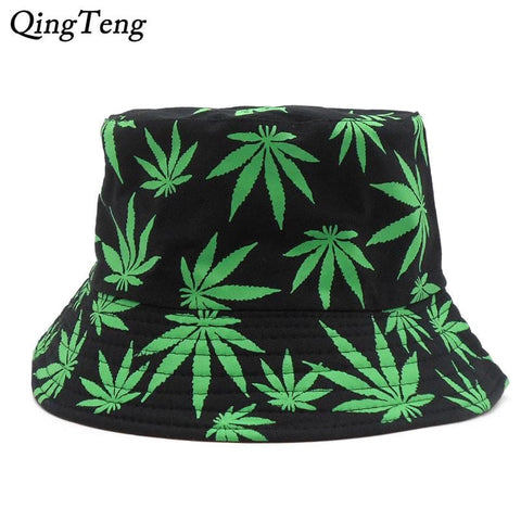 Weed Print Foldable Cotton Summer Outdoor Bucket Fishing Hat