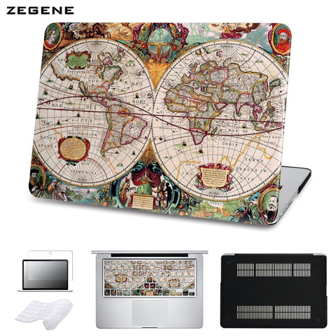 ZEGENE 5 in 1 Bundle Old World Map Hard Cover For Macbook
