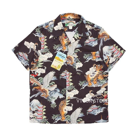 Bob Dong Mount Fuji Dragon Tiger Eagle Print Men Casual Hawaiian Shirts