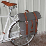 Tourbon Vintage Outdoor Bicycle Bag Pannier Waterproof Shoulder Backpack