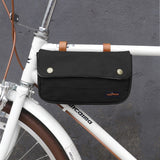 Tourbon Vintage Bike Front Handlebar Bag Cycling Phone Pouch Multi-Purpose Bicycle Accessories Black Waxed Waterproof Canvas
