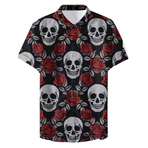 Arthur Curry Skull and Rose Printed Casual Shirt