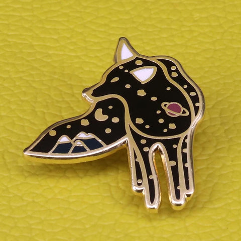Galaxy Wolf Enamel Brooch Pin