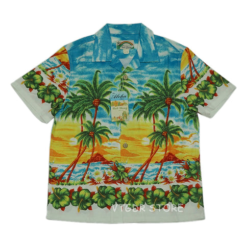 BOB DONG Coconut Palm Men Casual Hawaiian Shirts
