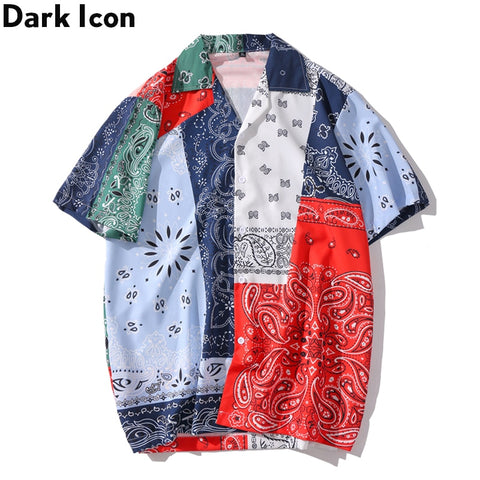 Dark Icon Multi Bandana Printed Vintage Casual Shirts for Men