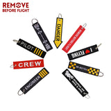 REMOVE BEFORE FLIGHT Novelty Embroidery Keychain for Motorcycles and Cars