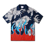 Dark Icon Flame Printed Vintage Casual Shirts for Men