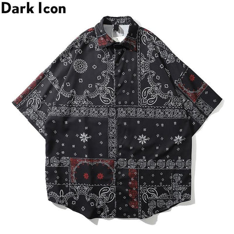 Dark Icon Black Bandana Printed Vintage Casual Shirts for Men