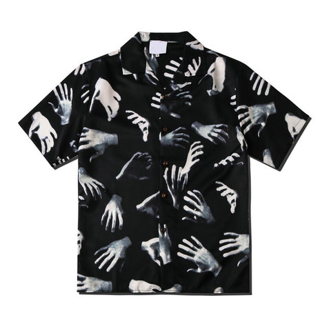 Dark Icon Ghost Hands Printed Vintage Casual Shirts for Men