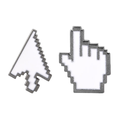 QIHE JEWELRY White Cursor Pointer Arrow/Hand Computer Icon Lapel Brooch Enamel Pin