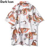 Dark Icon Tiger Printed Vintage Casual Shirts for Men