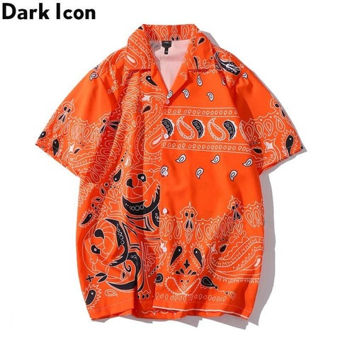 Dark Icon Orange Bandana Printed Vintage Casual Shirts for Men