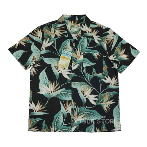 BOB DONG Strelitzia Reginae Aiton Print Men Casual Hawaiian Shirts