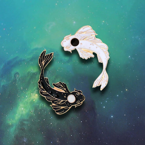 GDHY Yin Yang Goldfish Koi Fish Black and White Good Luck Jewelry Pins