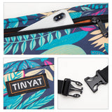 TINYAT Unisex Leaf Print Canvas Waist Fanny Pack Bag