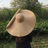 Latwelng 25CM Wide Brim Oversized Foldable Sun Shade Straw Beach Hats