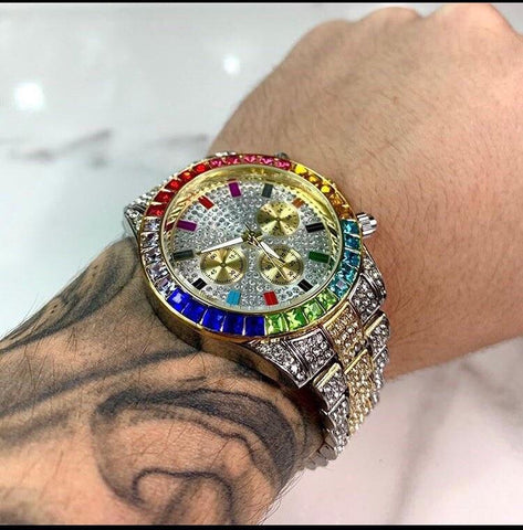OMEDLY Mens Gold Quartz Clock Chronograph Colorful Diamond and Steel Iced Out Watch