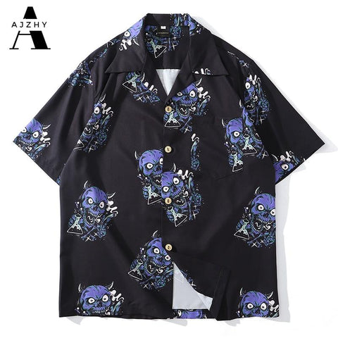 AJZHY Devil Head Short Sleeve Full Print Hawaiian Shirt Hip Hop Streetwear