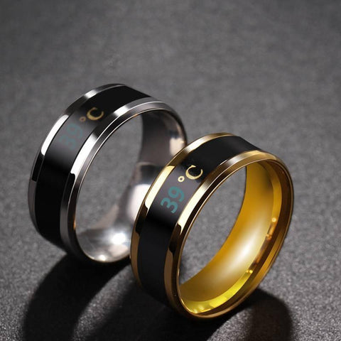 Match-Right Smart Sensor Real-time Body Temperature Stainless Steel Fashion Ring