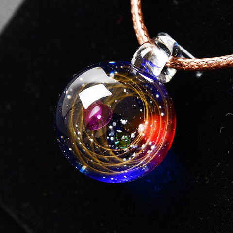BOEYCJR Universe Glass Bead Planets / Galaxy / Solar System Design Rope Chain Pendant Necklace