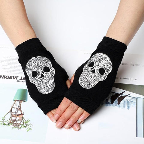 Sparkling Rhinestone Skull Half Finger Knitted Cotton Gloves