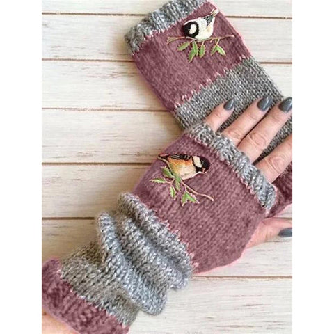 Birds Embroidery Knitted Fingerless Plus Velvet Color Block Splice Mittens