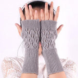Sparkling Rhinestone Half Finger Knitted Cotton Gloves