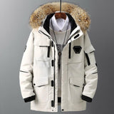 TOLOER Real Fur Collar Parka -30 degrees Men Casual 90% White Duck Thick Down Winter Snow Overcoat