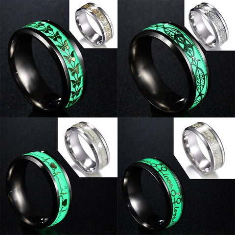 MEMOLISSA Plated Butterfly/Skull/Musical Note Design Green Background Luminous Glowing Ring