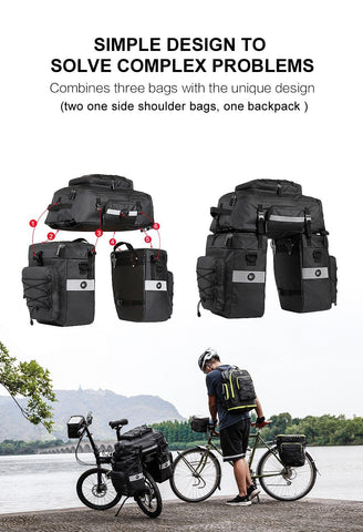Rhinowalk Mountain Road Bicycle Bike 3 in 1 Trunk Bags Cycling Double Side Rear Rack Tail Seat Pannier Pack Luggage Carrier