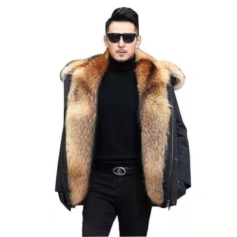 TQGQG Men Winter Faux Raccoon Fur Liner Hooded Parka Jacket
