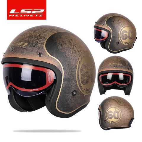 LS2 Spitfire Vintage Jet Fighter Motorcycle 3/4 Open Face DOT/ECE Certified Half Helmet