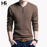 Solid Color Pullover Men V Neck Sweater Men Long Sleeve Shirt Mens Sweaters Wool Casual Dress Brand Cashmere Knitwear Pull Homme | calizota