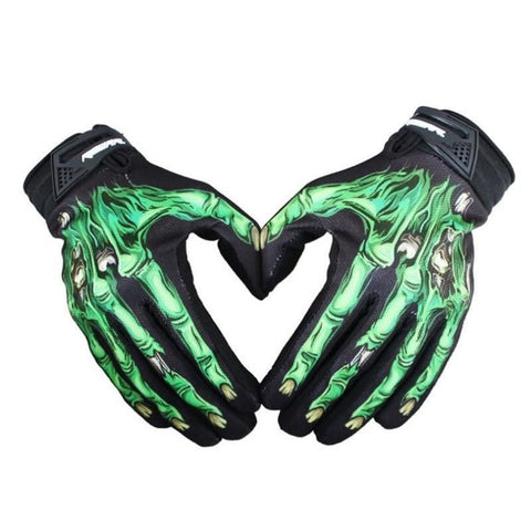 Skull Bone Skeleton Goth Racing Full Finger Halloween Gloves