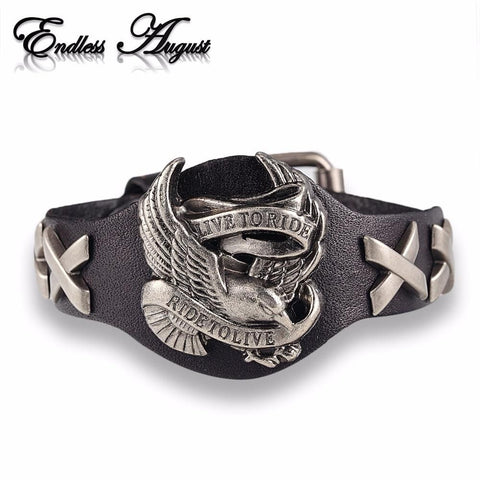 """Live to Ride, Ride to Live"" Eagle Motorcycle Leather Bracelet"