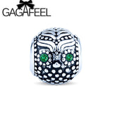 GAGAFEEL 2017 New Green Eye Rhinestone Owl Charms Vintage Silver Bead Fit Pandora Bracelets & Necklace Owl Animal Charms