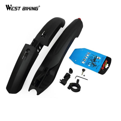 WEST BIKING Bicycle Front Rear Bicycle Durable Fenders With LED Light