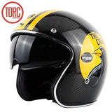 TORC Wicked Design Carbon Fiber Vintage Open Face DOT Approved Motorcycle Helmet with Inner Visor | calizota
