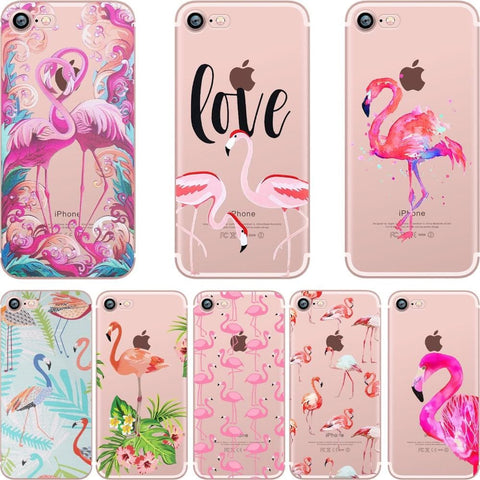 Phone Cases Summer Flamingos Love Soft Silicone Clear Case Cover for Apple IPhone 7 6 6S 8 Plus X 5S SE | calizota