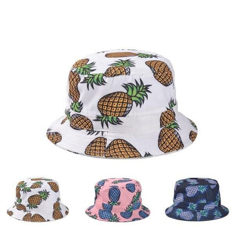 Summer Pineapple Printed Bucket Fishing Sun Caps