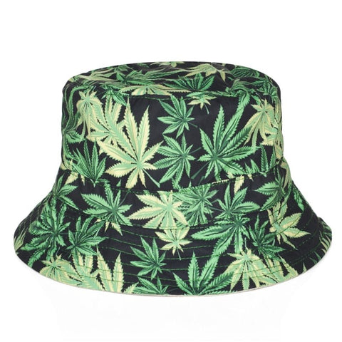 Harajuku Weed Print Foldable Cotton Summer Outdoor Bucket Fishing Hat
