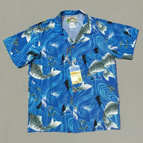 BOB DONG Carp Print Men Casual Hawaiin Shirts