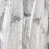 HimanJie Lace Hollow Crochet Cover Up 3/4 Sleeve Tunic Beach Dress